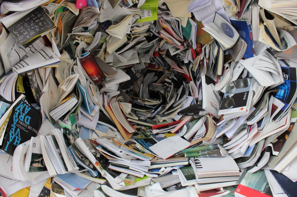 Swirl of books and papers