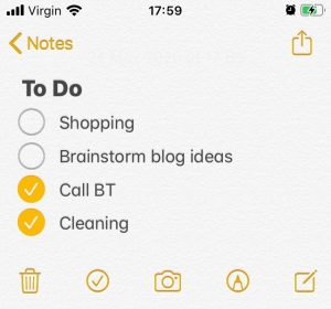 The Singing VA To Do list on Notes