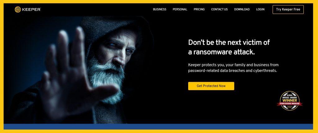 Screenshot of Keeper Security website