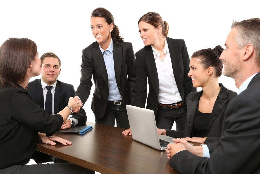 Standard stock image of business people.