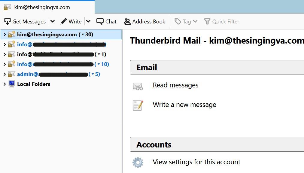 Email accounts on Thunderbird