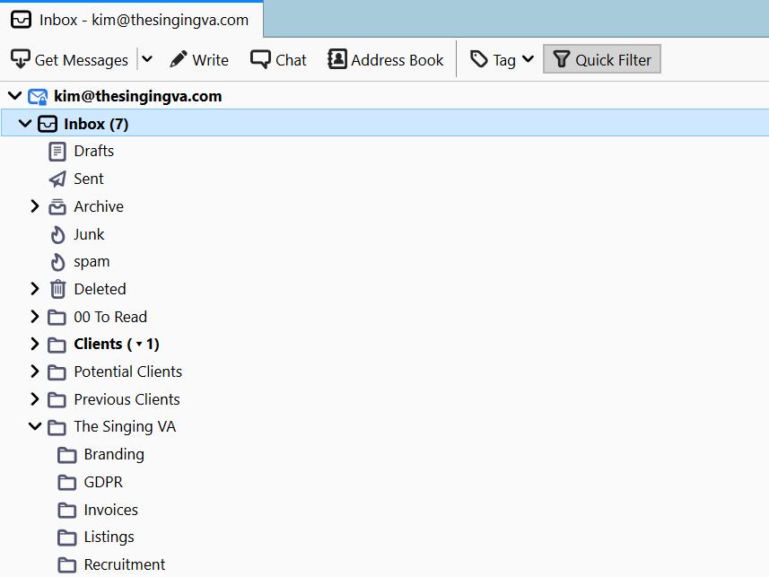Email inbox filing system on Thunderbird