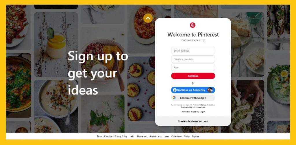 Pinterest login page