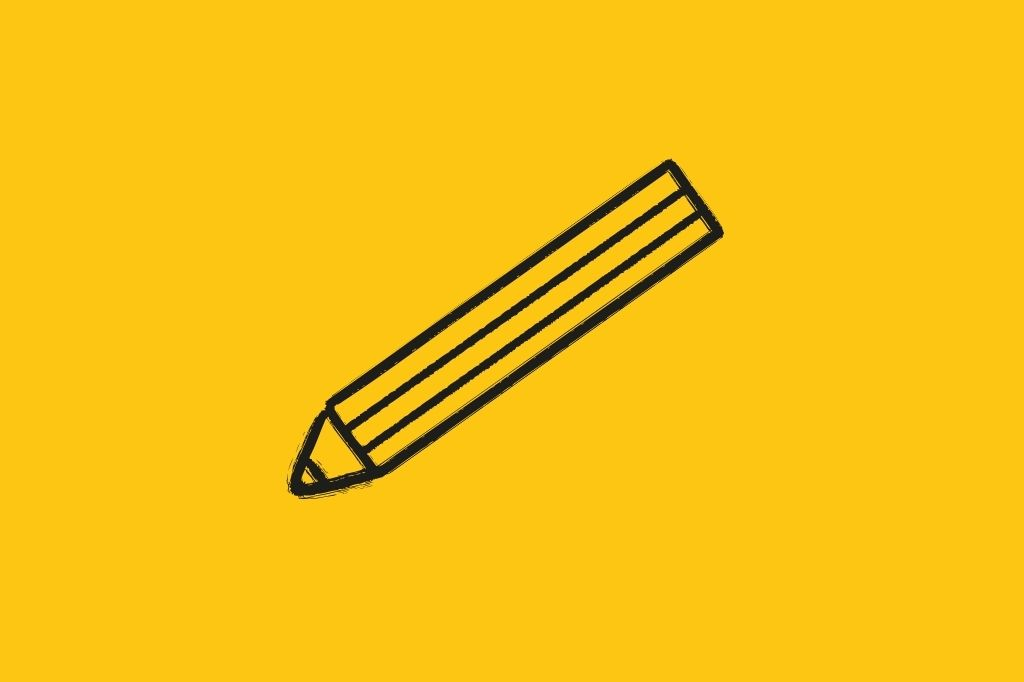 Pencil icon on a yellow background
