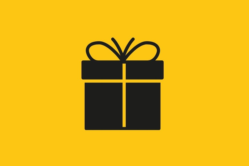 Gift icon on a yellow background