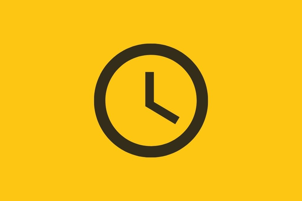 Clock icon on a yellow background