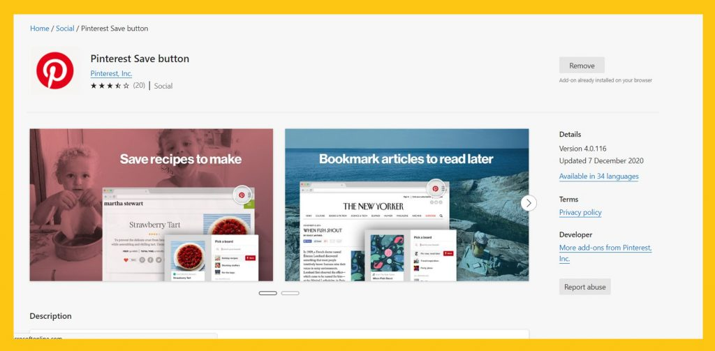 Pinterest browser add-on