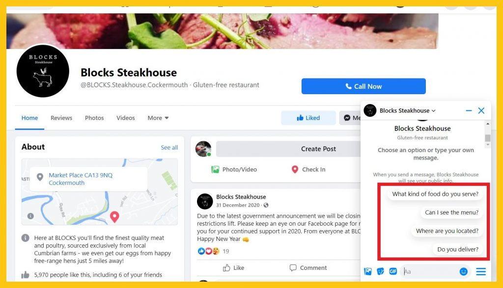 FAQs on Facebook Messenger for Blocks Steakhouse