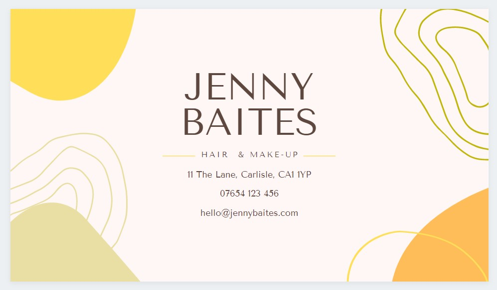 Example of a business card created on Canva
